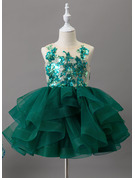 Ball-Gown/Princess Knee-length Flower Girl Dress - Tulle/Lace/Sequined Sleeveless Scoop Neck