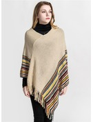 Striped Oversized/Cold weather Acrylic/Artificial Wool Poncho