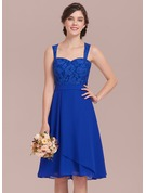 A-Line/Princess Sweetheart Knee-Length Chiffon Lace Homecoming Dress With Cascading Ruffles