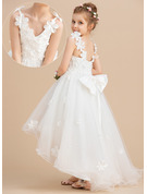 Ball-Gown/Princess Asymmetrical Flower Girl Dress - Tulle Sleeveless V-neck With Beading/Flower(s)/Bow(s)
