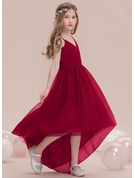 A-Line V-neck Asymmetrical Tulle Junior Bridesmaid Dress With Ruffle