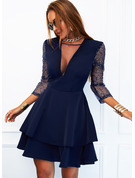 Sequins Solid A-line V-Neck Long Sleeves Midi Elegant Skater Dresses