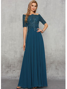 A-Line Square Neckline Floor-Length Chiffon Lace Evening Dress With Lace