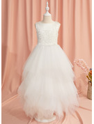 Ball-Gown/Princess Ankle-length Flower Girl Dress - Satin/Tulle Sleeveless Scoop Neck With Lace/Beading