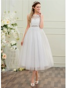 Ball-Gown Scoop Neck Tea-Length Tulle Wedding Dress With Beading Sequins