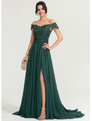 Off-the-Shoulder Sweep Train Chiffon Evening Dress