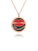 Custom 18k Rose Gold Plated 3D Engraved Necklace Circle Necklace With Red Lips - Christmas Gifts