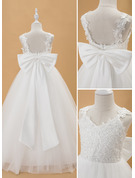 Ball-Gown/Princess Floor-length Flower Girl Dress - Tulle Lace Sleeveless V-neck With Beading Bow(s)
