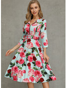 Floral A-line Round Neck 1/2 Sleeves Midi Casual Skater Dresses