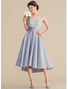A-Line/Princess V-neck Asymmetrical Satin Lace Bridesmaid Dress With Ruffle