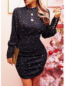 Print Bodycon High Neck Long Sleeves Lantern Sleeve Midi Elegant Dresses