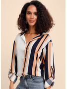 Long Sleeves Polyester Lapel Shirt Blouses Blouses