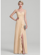 V-neck Floor-Length Chiffon Lace Evening Dress With Split Front Cascading Ruffles