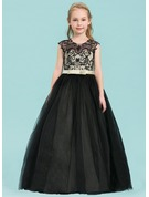 Ball Gown Floor-length Flower Girl Dress - Satin/Tulle/Lace Sleeveless Scoop Neck With Bow(s)
