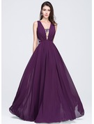 A-Line/Princess V-neck Floor-Length Chiffon Prom Dresses With Ruffle Lace