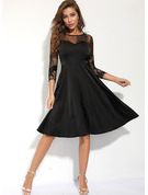 Polyester With Lace Knee Length Dress