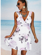 Floral Print Sheath V-Neck Sleeveless Midi Casual Vacation Dresses