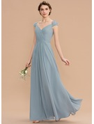 V-neck Floor-Length Chiffon Lace Bridesmaid Dress With Ruffle