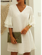 Solid Shift V-Neck 3/4 Sleeves Flare Sleeve Midi Casual Tunic Dresses