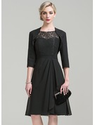 A-Line Scoop Neck Knee-Length Chiffon Lace Mother of the Bride Dress With Cascading Ruffles