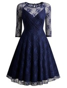 Polyester With Lace Above Knee Dress