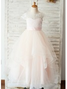 A-Line/Princess Floor-length Flower Girl Dress - Satin/Tulle/Lace Sleeveless Scoop Neck With Appliques (Undetachable sash)
