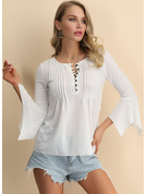3/4 Sleeves Cotton Round Neck Knit Blouses