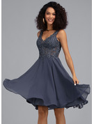 V-neck Knee-Length Chiffon Cocktail Dress With Beading