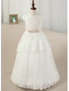Ball Gown Floor-length Flower Girl Dress - Satin/Tulle/Lace Sleeveless Scoop Neck With Sash/Appliques