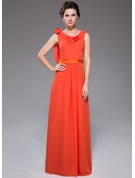 A-Line/Princess Cowl Neck Floor-Length Chiffon Holiday Dress With Ruffle Flower(s)