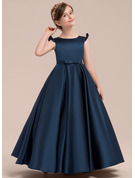 Ball-Gown/Princess Floor-length Flower Girl Dress - Satin Sleeveless Scoop Neck With Bow(s)