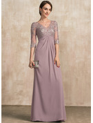 V-neck Floor-Length Chiffon Lace Mother of the Bride Dress With Ruffle