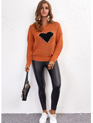 Round Neck Long Sleeves Regular Print Heart Casual Pullovers