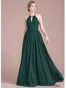 Scoop Neck Floor-Length Chiffon Prom Dresses With Ruffle