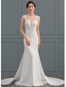 Trumpet/Mermaid Illusion Chapel Train Satin Wedding Dress With Sequins