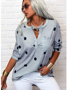 Regular Cotton Blends V-Neck PolkaDot Fitted Blouses