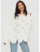 Plain Polyester Round Neck Sweater Sweaters