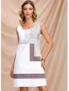 Cotton With Color-block Above Knee Dress