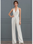Sheath/Column Halter Floor-Length Satin Wedding Dress