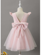 Knee-length Flower Girl Dress - Tulle Sleeveless Scoop Neck With Ruffles Beading Bow(s)