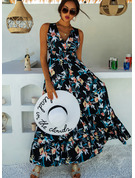 Floral Print A-line V-Neck Sleeveless Maxi Casual Vacation Skater Dresses