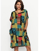 Polyester/Linen With Stitching Knee Length Dress
