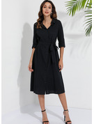 Cotton With Button/Solid Midi Dress