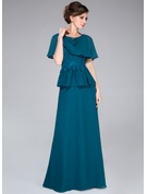 A-Line/Princess Cowl Neck Floor-Length Chiffon Mother of the Bride Dress With Lace Beading Sequins Cascading Ruffles