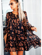 Floral Print Shift V-Neck Long Sleeves Midi Casual Tunic Dresses