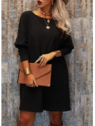 Solid Shift Round Neck Long Sleeves Midi Casual Little Black Tunic Dresses
