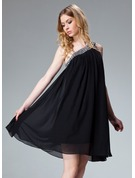 A-Line/Princess One-Shoulder Short/Mini Chiffon Holiday Dress With Ruffle Beading