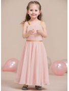 A-Line/Princess Scoop Neck Ankle-Length Chiffon Junior Bridesmaid Dress With Ruffle Sash