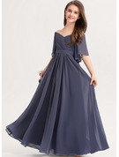 Off-the-Shoulder Floor-Length Chiffon Junior Bridesmaid Dress With Ruffle Bow(s)