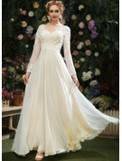 V-neck Floor-Length Wedding Dress With Lace Sequins